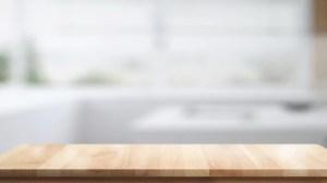background table kitchen empty modern wood premium wooden montage blurred desk living freepik