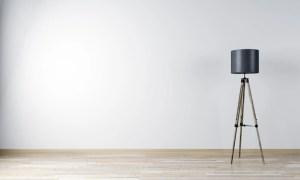 empty floor living lamp mockup rendering premium mock posters interior wooden