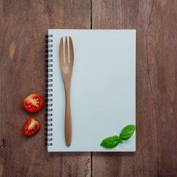 Premium Photo Foods background and food menu design on wooden background flat lay