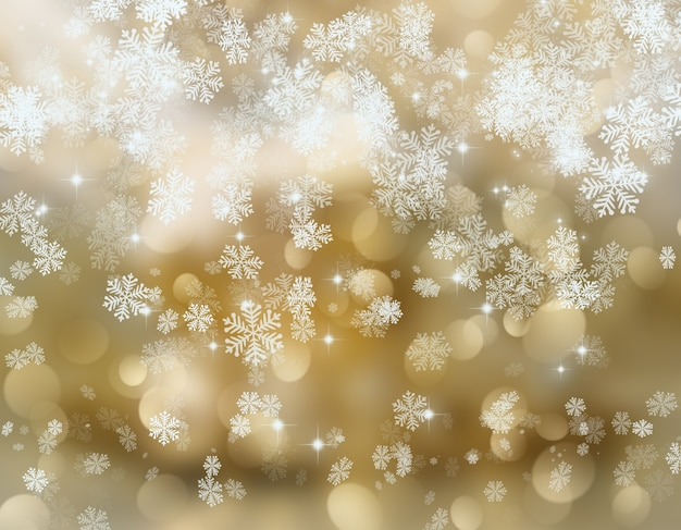 Golden background with snowflakes Photo  Free Download