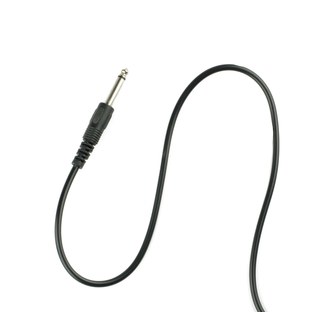 Guitar audio jack with black cable isolated on white