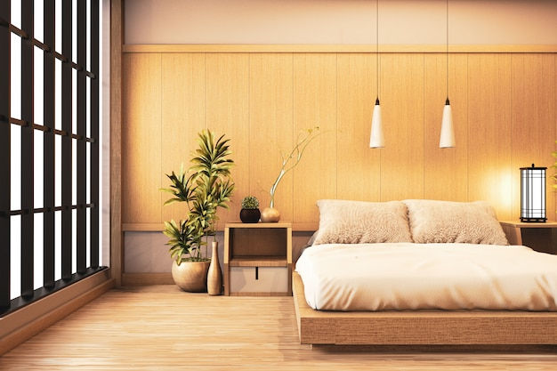 Premium Photo Interior Luxury Modern Japanese Style Bedroom Mock Up Designing The Most Beautiful 3d Rendering