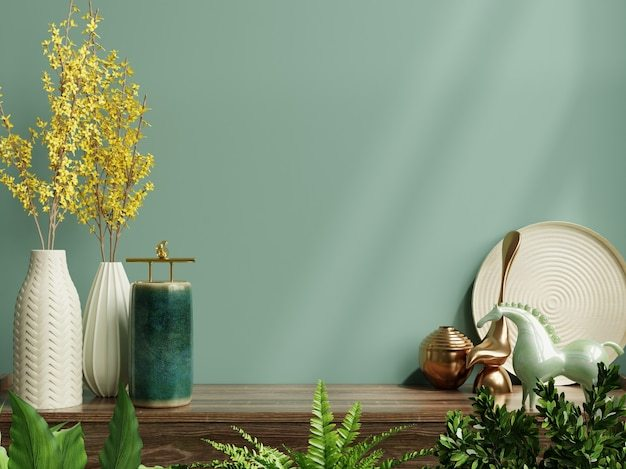 Interior wall mockup with green plant,green wall and shelf.3d rendering Free Photo
