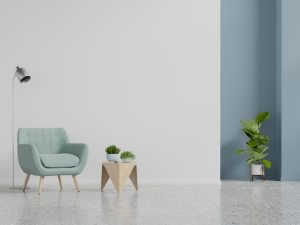 empty living interior salon premium mur avec armchair fond blanc dach dem wandhintergrund blauem lehnsessel leerem scandinave doubles cadres fauteuil
