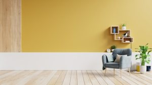 living interior empty yellow plants pareti sala lamp warna tono untuk premium bicolore rumah parete freepik armchair fabric lampe furniture