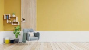 living empty wall yellow interior armchair lamp premium plants fabric
