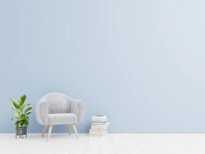 background wall living interior books armchair velvet premium freepik variety shelf lamp colorful