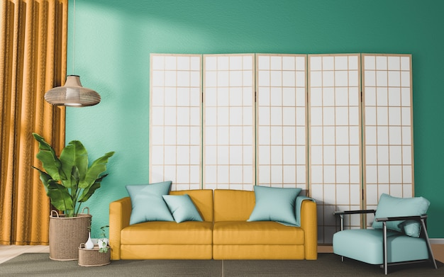 Premium Photo Living Room With Yellow Sofa And Decor On Mint Wall Background 3d Rendering