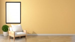 background wall empty living interior frame yellow plants mock armchair premium plant zen rendering object cabinet lamp place modern table
