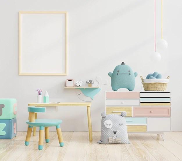 Mock up poster frame in children room.kids room.nursery mockup.white wall. | Premium Photo