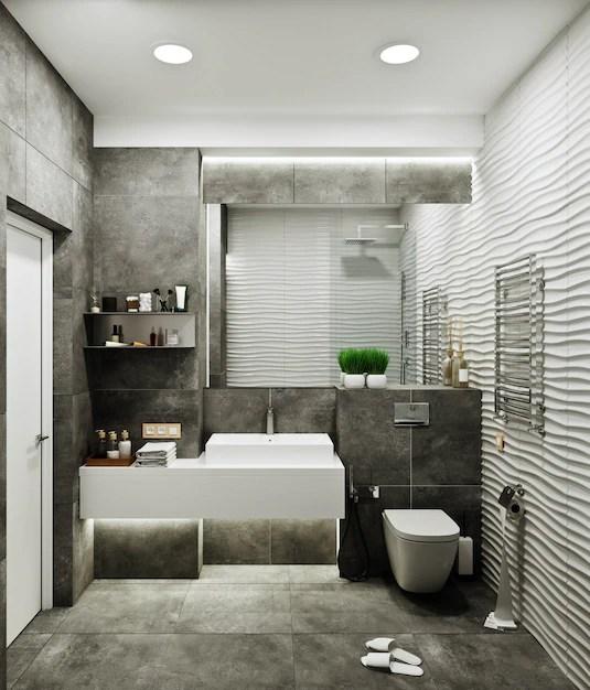 https www freepik com premium photo modern bathroom design with tiles concrete wave tile 10820864 htm