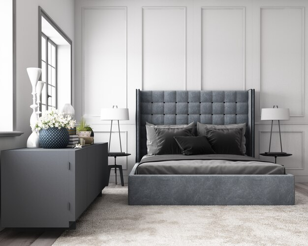Premium Photo Modern Classic Bedroom With Wall Decorate By Classic Element And Furniture Grey Tone 3d Render