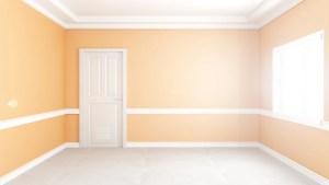 empty background living interior yellow 3d modern wall mockup premium rendering