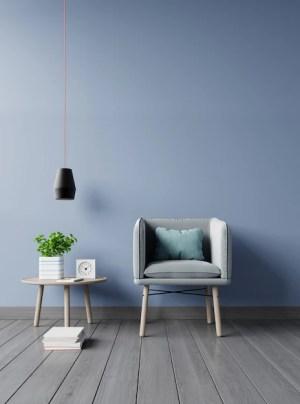 living modern background dark wall interior plants armchair lamp premium