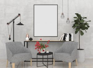 wall mockup living blank background modern premium