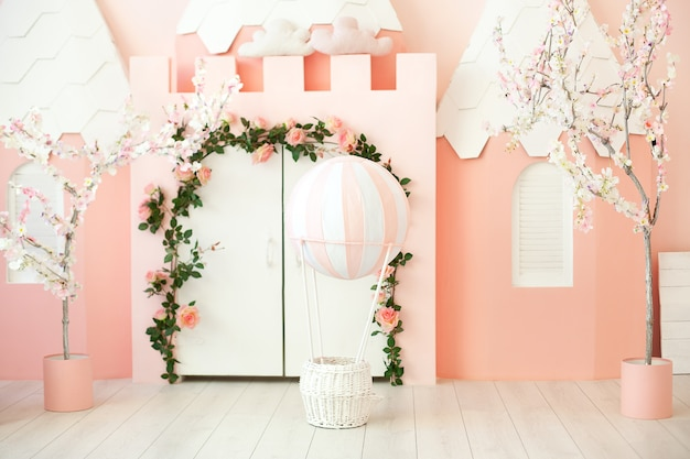 Premium Photo Playroom With Pink Castle Tent For Children Children S Room Decorations For A Children S Party A Room With Tent White Door And Balloon Kindergarten