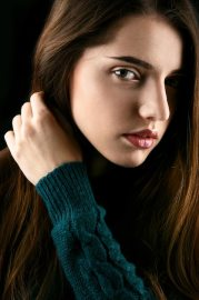 profile of young girl with long