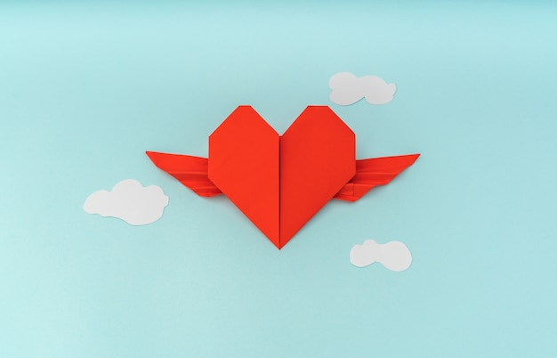 red paper origami heart