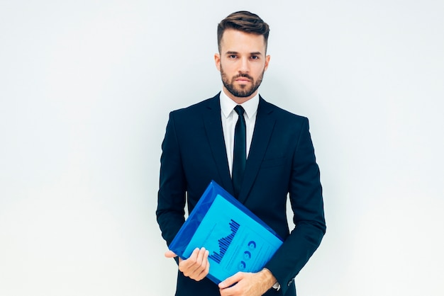 Free Photo Serious Business Guy With Folder