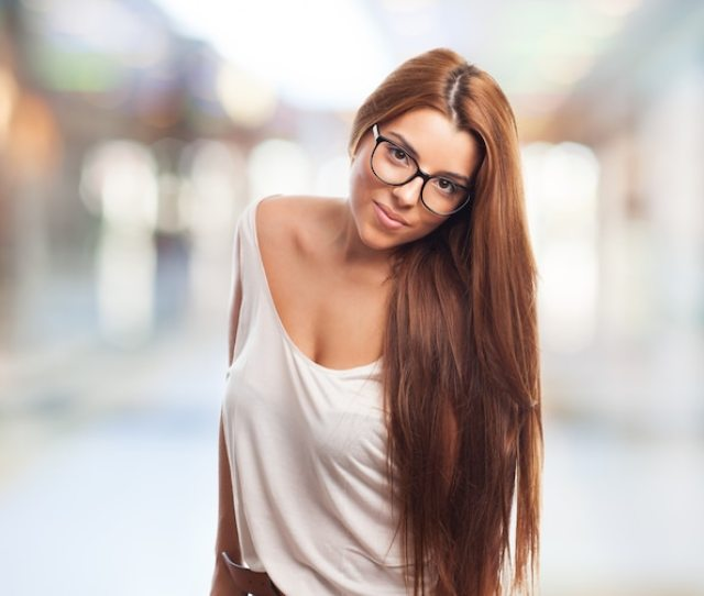 Sexy Girl In Glasses Looking Calmly At Camera Free Photo