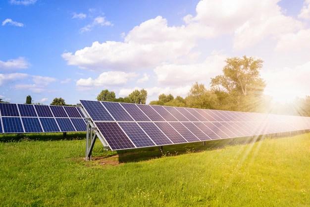 Solar Panels Mounted On The Ground Premium Photo