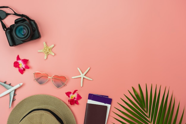 Premium Photo Table Top View Food Items Of Travel Summer Holiday And Vacation Background Concept