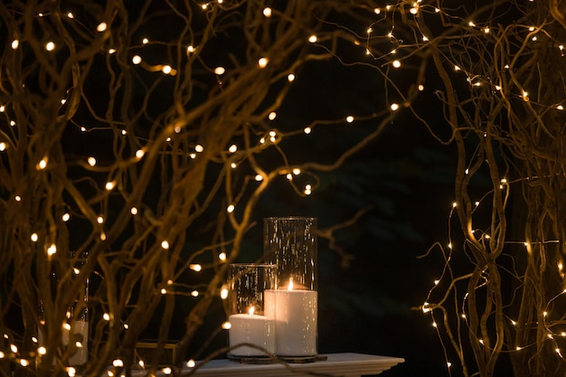 Tall vases with white candles stand under shiny branches Free Photo
