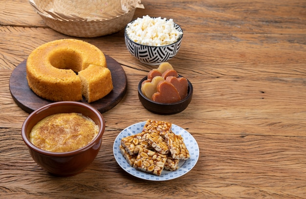 Typical brazilian june festival food. festa junina with copy space. Premium Photo
