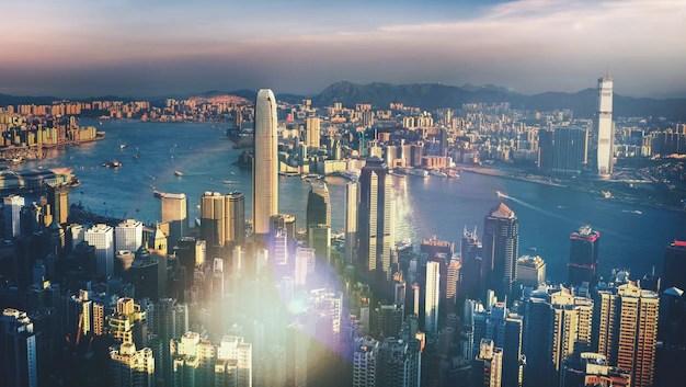 Victoria harbor hong kong at sunset Photo   Premium Download