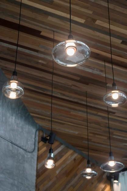 vintage light bulbs hanging