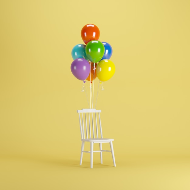 chair with balloons cheap table and set white colorful floating on yellow background demo 24