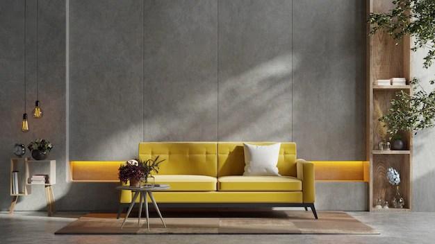 Status relief este o vopsea decorativa texturata, pentru interior si exterior, utilizata pentru pereti, tavane, lemn. Free Photo Yellow Sofa And A Wooden Table In Living Room Interior With Plant