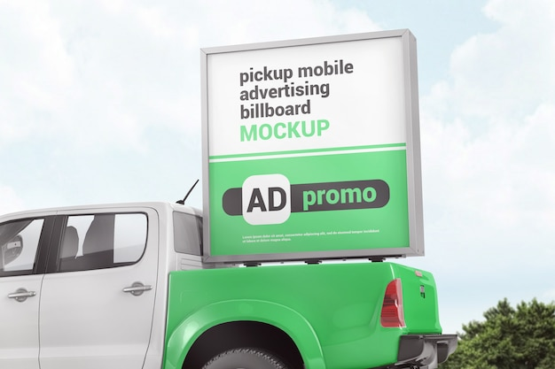 Download Premium PSD | Advertising box on the back of pickup truck ...