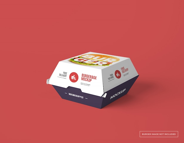 Download Premium PSD | Burger box packaging with editable design mockup