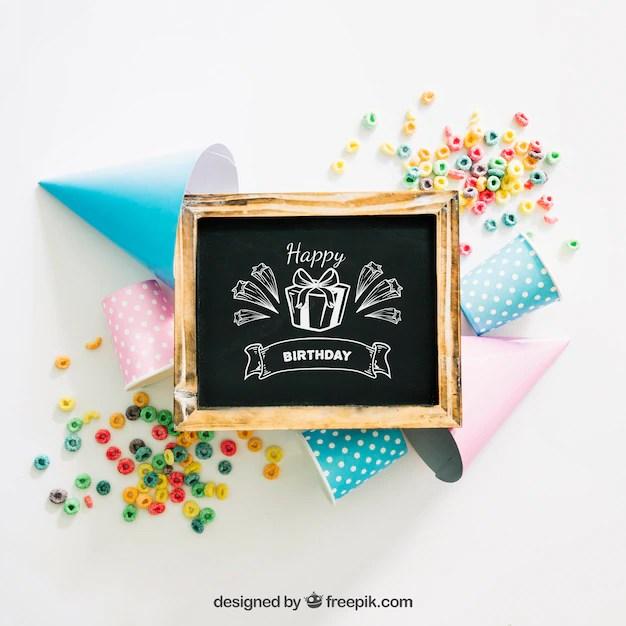 Chalkboard Mockup With Birthday Design Psd File Free