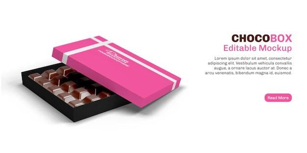 Download Chocolate box mockup on banner | Premium PSD File