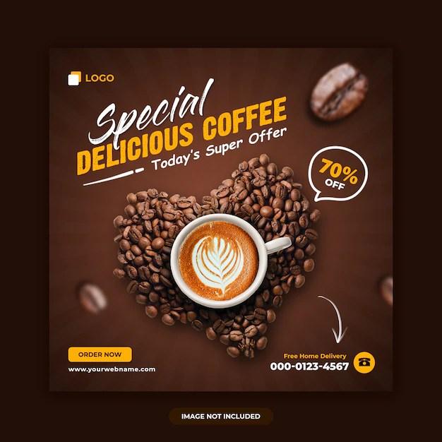Coffee sale social media banner design template Premium Psd