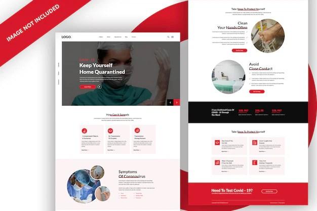 Covid 19 Coronavirus Web Template Design Premium Psd