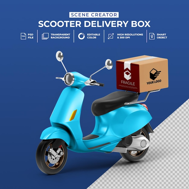 Pngtree provides millions of free png, vectors, clipart images and psd graphic resources. Premium Psd Creative Concept 3d Render Of Delivery Scooter Bike With Box Mockup