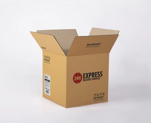 Download Premium PSD | Delivery cardboard box mockup