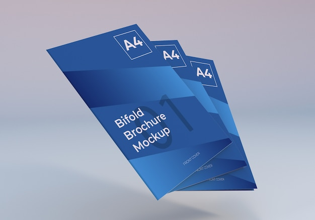 Download Floating stack a4 bifold brochure mockup | Premium PSD File