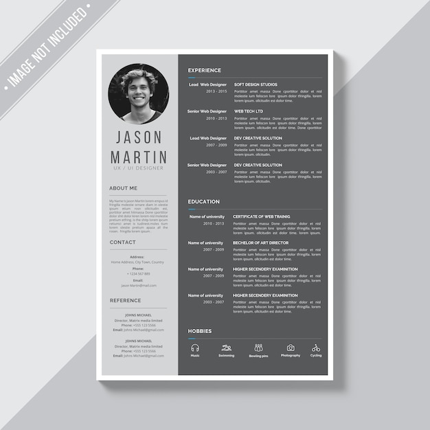 Grey Cv Template PSD File Free Download
