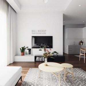 living background mockup psd wall interior premium