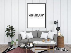 living furniture copy interior template floor mockup minimalist premium psd space