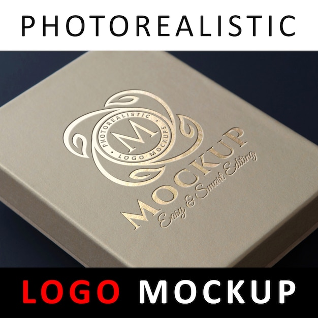 logo mockup debossed gold