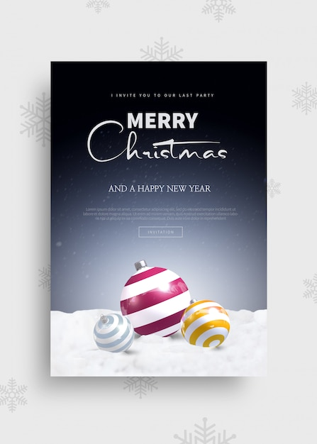 Merry christmas and happy new year 2020 greeting card template   Premium PSD File