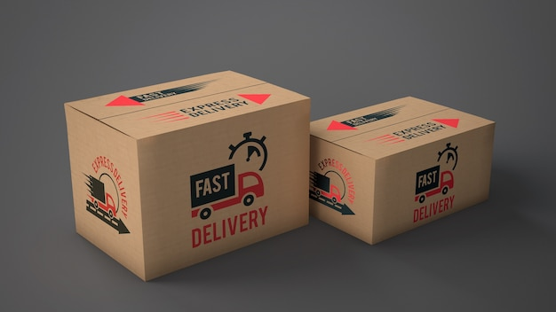 Download Free PSD | Mockup of delivery boxes of different sizes