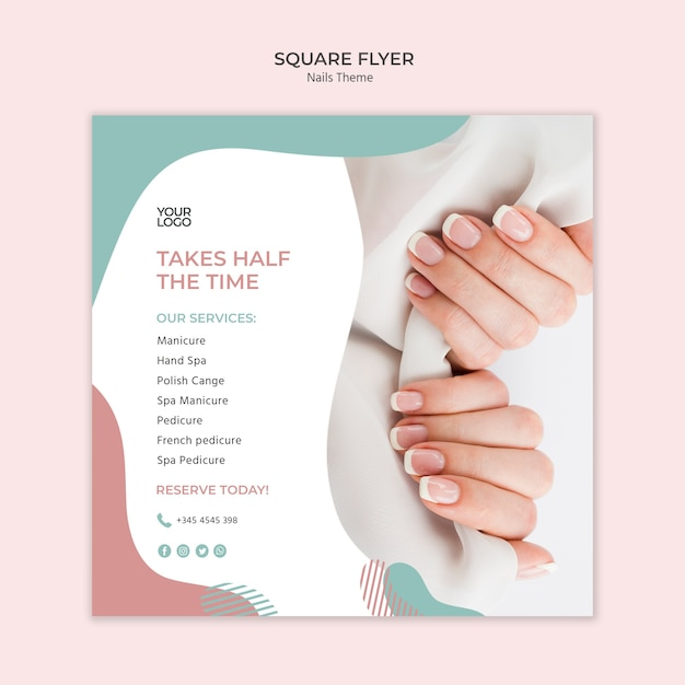 free psd nail studio flyer template