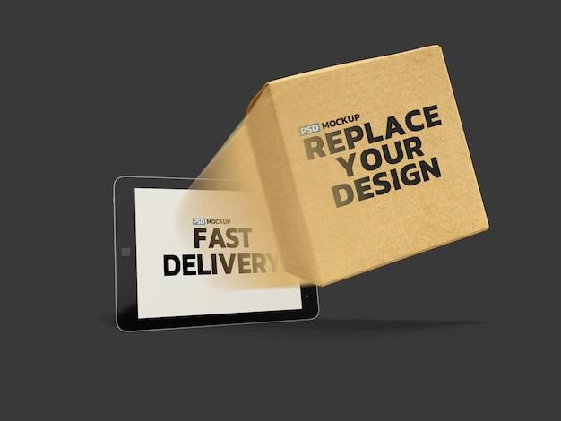 Download Online delivery box mockup 3d rendering design | Premium ...