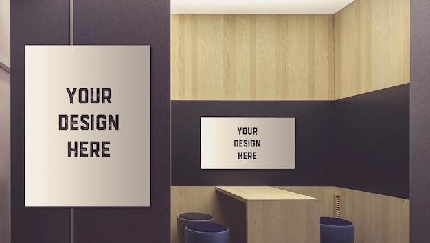 Picture on wall mockup | Premium PSD File